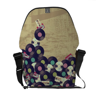 Cassettes and Records - Vintage design Courier Bag