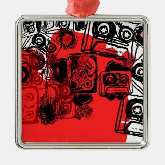 """Cassettes"" design made for true dreamers! Silver-Colored Square Decoration"