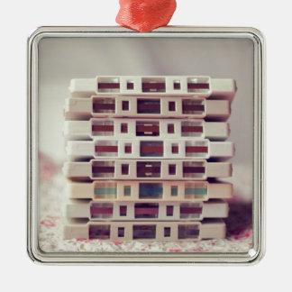 Cassettes Pattern Silver-Colored Square Decoration