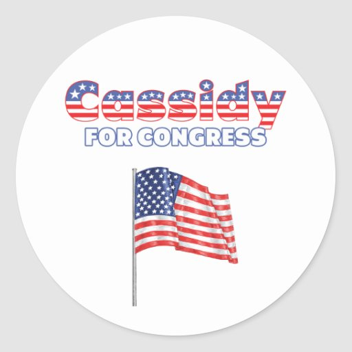Cassidy for Congress Patriotic American Flag Round Stickers
