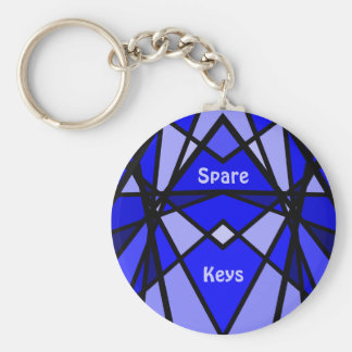 Cassie's art Blue modern stained glass Basic Round Button Key Ring