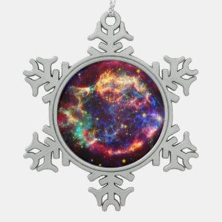 Cassiopeia Galaxy Supernova remnant Snowflake Pewter Christmas Ornament