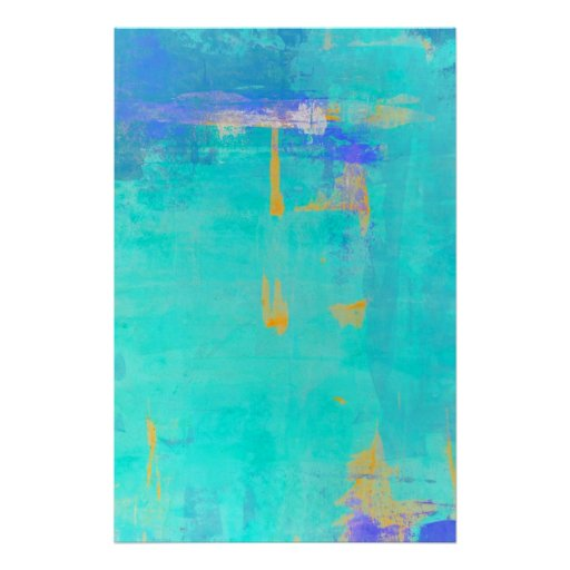 'Cast Away' Turquoise and Orange Abstract Art Poster