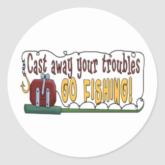 Cast Away Your Troubles Round Sticker