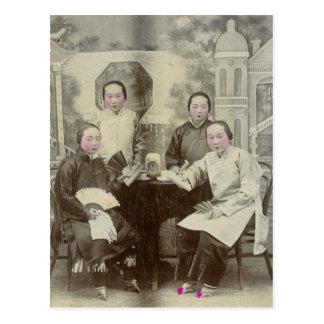Cast members, Beijing opera, circa 1880 Postcard