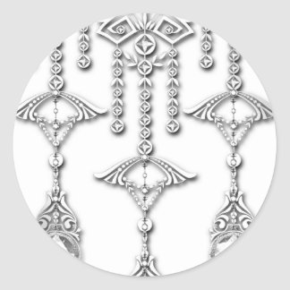 CASTELLINA JEWELS: CLASSY WHITE and SILVER Round Sticker