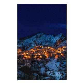 Castelmezzano Italy At Night Stationery
