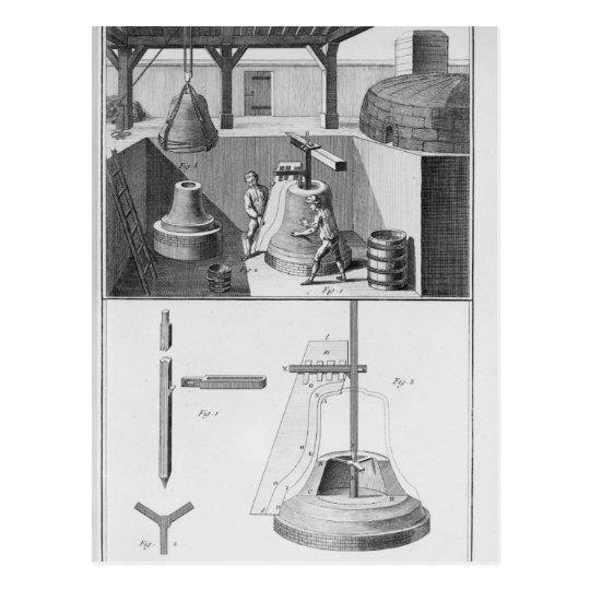 Casting bells, illustration from 'Encyclopaedia' Postcard