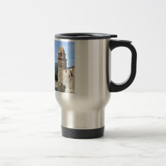 Castle and church of Collioure in France Stainless Steel Travel Mug