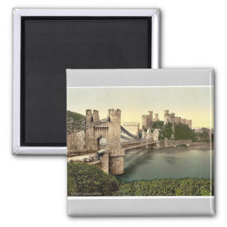 Castle and suspension bridge, Conway (i.e. Conwy), Magnet