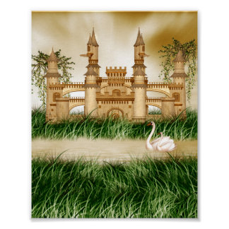 Castle and Swans Mini Poster