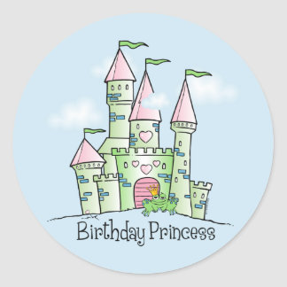 Castle Birthday Princess Round Sticker