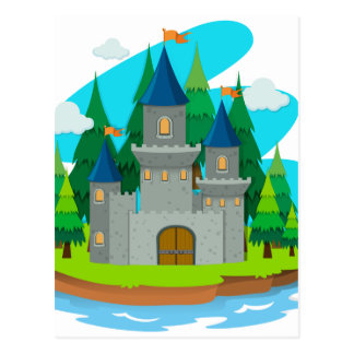 Castle building on the island postcard