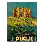 Castle del Monte Puglie Vintage Travel Art Postcard