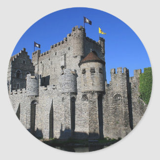 Castle in Ghent Round Stickers
