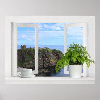 Castle in Scotland -- Open Window View of Coast Print