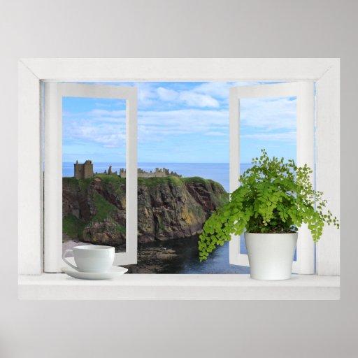 Castle in Scotland -- Open Window View of