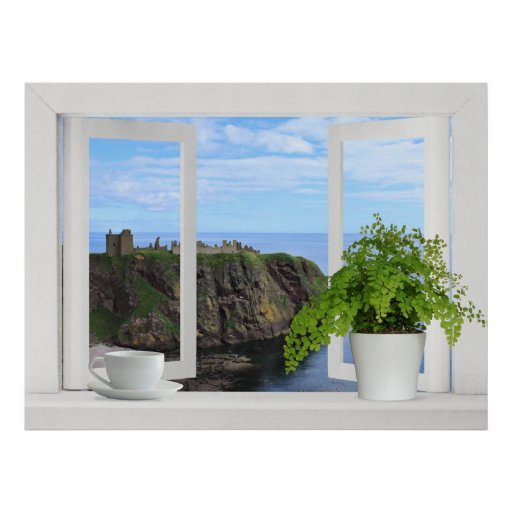 Castle in Scotland -- Open Window View of Coast Poster