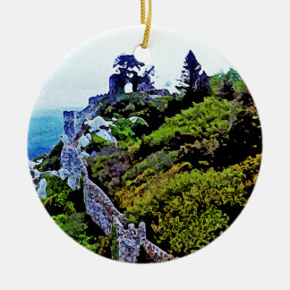 Castle in Sintra Portugal Round Ceramic Decoration