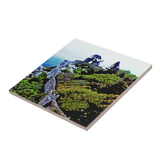 Castle in Sintra Portugal Small Square Tile