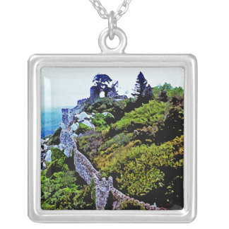 Castle in Sintra Portugal Square Pendant Necklace