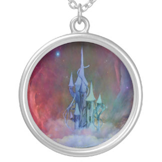 Castle in the clouds silver plated necklace
