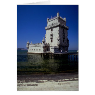 Castle in water, Lisbon, Portugal Greeting Card