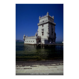 Castle in water, Lisbon, Portugal Poster