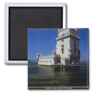 Castle in water, Lisbon, Portugal Square Magnet