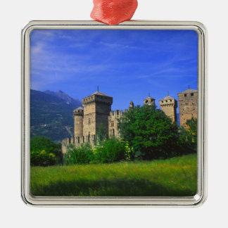 Castle of Fenis near Italian Alps in Fenis, Silver-Colored Square Decoration