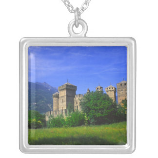 Castle of Fenis near Italian Alps in Fenis, Silver Plated Necklace