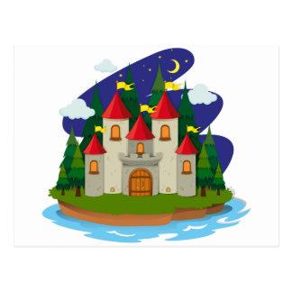 Castle on island at night postcard