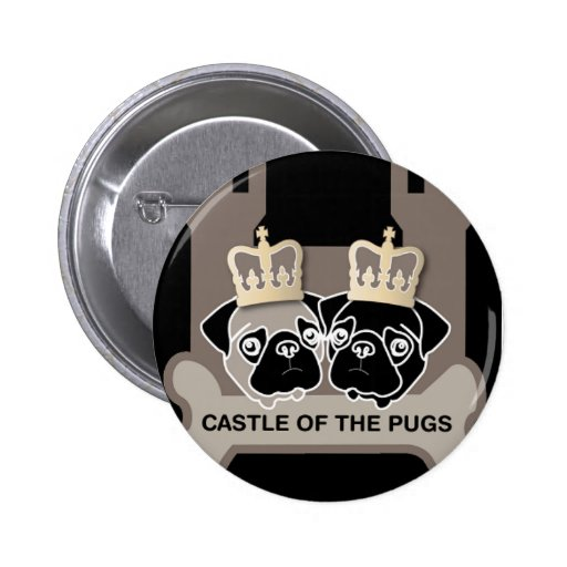 castle or the pugs button with logo (black)