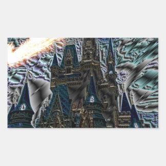 castle rectangular sticker
