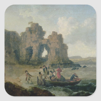 Castle Rock (Flatholm Island), Bristol Channel, 17 Square Sticker