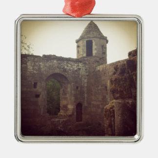 Castle Ruin Silver-Colored Square Decoration