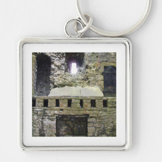 Castle ruins Silver-Colored square key ring