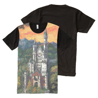 Castle Schloss Neuschwanstein Art All-Over Print T-Shirt