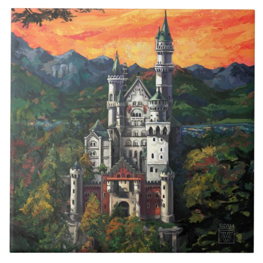 Castle Schloss Neuschwanstein Large Square Tile