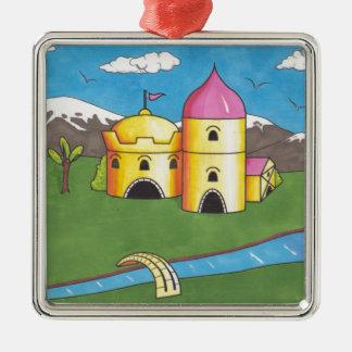 Castle Silver-Colored Square Decoration
