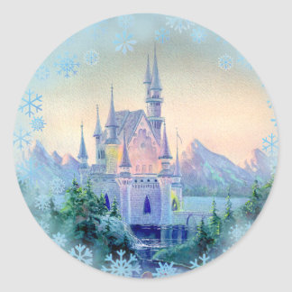 CASTLE & SNOWFLAKES by SHARON SHARPE Round Stickers