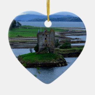 Castle Stalker in Scotland Ceramic Heart Decoration