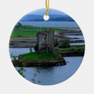 Castle Stalker in Scotland Round Ceramic Decoration