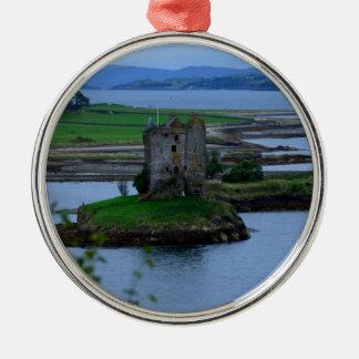 Castle Stalker in Scotland Silver-Colored Round Decoration