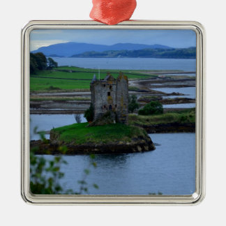 Castle Stalker in Scotland Silver-Colored Square Decoration