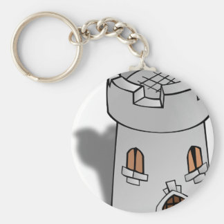 Castle Tower Basic Round Button Key Ring