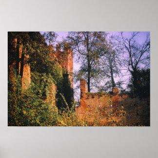 Castle Tower Fort Moat Vintage Fortress Forest Poster