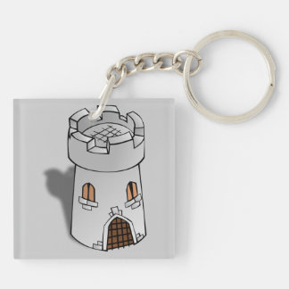 Castle Tower Double-Sided Square Acrylic Keychain