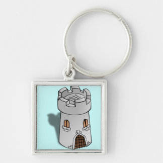 Castle Tower Silver-Colored Square Key Ring