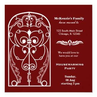 Castle window housewarming party 13 cm x 13 cm square invitation card